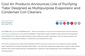 Press Release - Cool Air Products Announces Line of Purifying Tabs